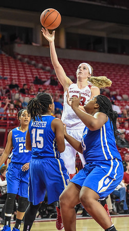 Arkansas Lady Razorbacks forward Melissa Wolff (33) shoots during a basketball game between Arkansas and Tulsa on November 23, 2015.    (Alan Jamison, Nate Allen Sports Service)