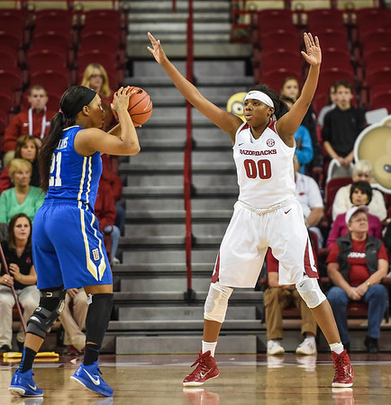 Arkansas Lady Razorbacks forward Jessica Jackson (00) defends during a basketball game between Arkansas and Tulsa on November 23, 2015.    (Alan Jamison, Nate Allen Sports Service)