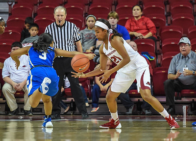 Arkansas Lady Razorbacks guard Devin Cosper (21) with a steal during a basketball game between Arkansas and Tulsa on November 23, 2015.    (Alan Jamison, Nate Allen Sports Service)
