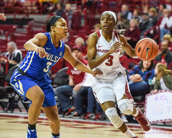 Arkansas Lady Razorbacks guard Malica Monk (3) drives during a basketball game between Arkansas and Tulsa on November 23, 2015.    (Alan Jamison, Nate Allen Sports Service)