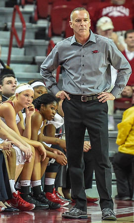 Arkansas head coach Jimmy Dykes during a basketball game between Arkansas and Tulsa on November 23, 2015.    (Alan Jamison, Nate Allen Sports Service)