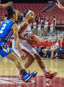 Arkansas Lady Razorbacks guard Jordan Danberry (24) drives during a basketball game between Arkansas and Tulsa on November 23, 2015.    (Alan Jamison, Nate Allen Sports Service)