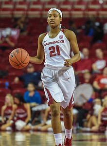 Arkansas Lady Razorbacks guard Devin Cosper (21) at point during a basketball game between Arkansas and Tulsa on November 23, 2015.    (Alan Jamison, Nate Allen Sports Service)