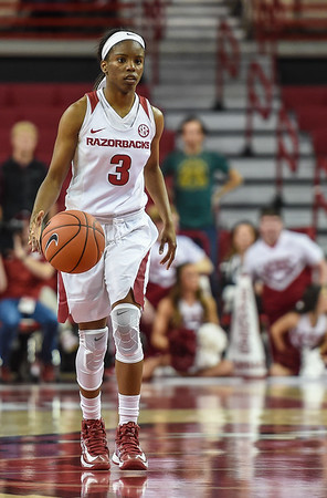 Arkansas Lady Razorbacks guard Malica Monk (3) at point during a basketball game between Arkansas and Tulsa on November 23, 2015.    (Alan Jamison, Nate Allen Sports Service)