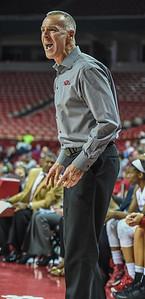 Arkansas head coach Jimmy Dykes during a basketball game between Arkansas and Tulsa on November 23, 2015.    (Alan Jamison, Nate Allen Sports Service)