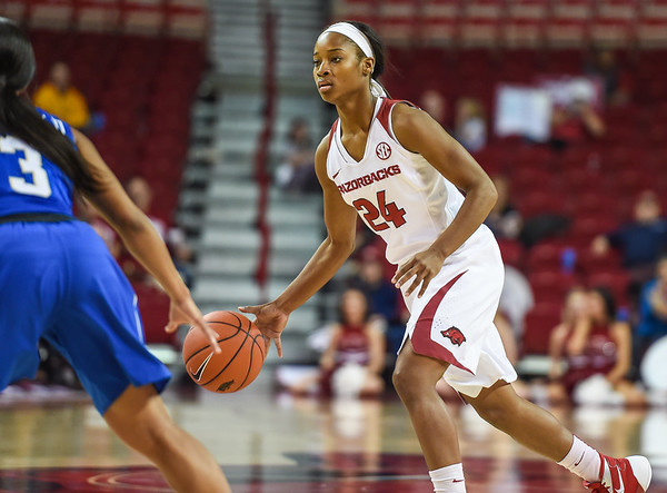 Arkansas Lady Razorbacks guard Jordan Danberry (24) at point during a basketball game between Arkansas and Tulsa on November 23, 2015.    (Alan Jamison, Nate Allen Sports Service)