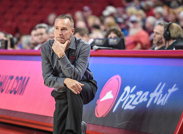 Arkansas head coach Jimmy Dykes during a basketball game between Arkansas and Missouri State on December 2, 2015.    (Alan Jamison, Nate Allen Sports Service)