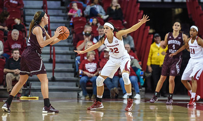 Arkansas Lady Razorbacks guard/forward Bailey Zimmerman (22) defends during a basketball game between Arkansas and Missouri State on December 2, 2015.    (Alan Jamison, Nate Allen Sports Service)