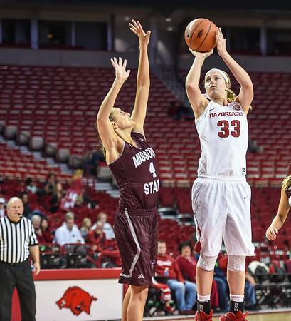 Arkansas Lady Razorbacks forward Melissa Wolff (33) shoots during a basketball game between Arkansas and Missouri State on December 2, 2015.    (Alan Jamison, Nate Allen Sports Service)