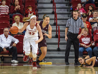 Arkansas Lady Razorbacks forward Melissa Wolff (33) clears a rebound during a basketball game between Arkansas and Missouri State on December 2, 2015.    (Alan Jamison, Nate Allen Sports Service)