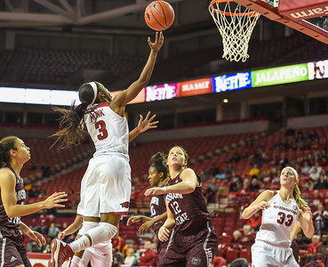 Arkansas Lady Razorbacks guard Malica Monk (3) shoots during a basketball game between Arkansas and Missouri State on December 2, 2015.    (Alan Jamison, Nate Allen Sports Service)