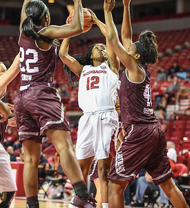 Arkansas Lady Razorbacks guard Briunna Freeman (12) shoots during a basketball game between Arkansas and Missouri State on December 2, 2015.    (Alan Jamison, Nate Allen Sports Service)