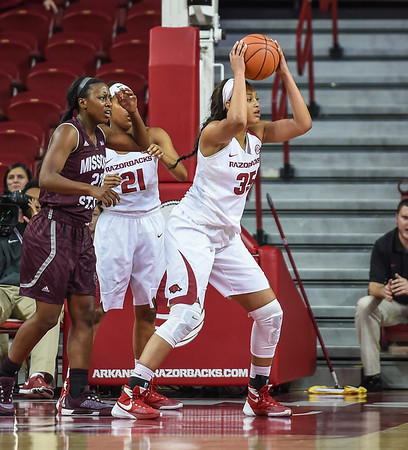 Arkansas Lady Razorbacks center Alecia Cooley (35) with a rebound during a basketball game between Arkansas and Missouri State on December 2, 2015.    (Alan Jamison, Nate Allen Sports Service)