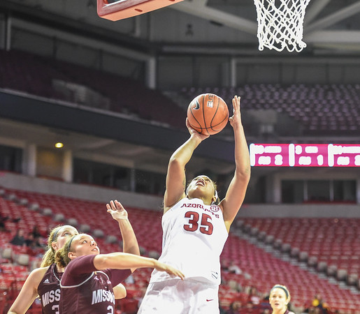 Arkansas Lady Razorbacks center Alecia Cooley (35) with a layup during a basketball game between Arkansas and Missouri State on December 2, 2015.    (Alan Jamison, Nate Allen Sports Service)