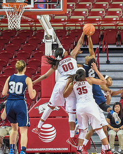 Arkansas Lady Razorbacks forward Jessica Jackson (00) with a block during a basketball game between Arkansas and Oral Roberts on December 10, 2015.    (Alan Jamison, Nate Allen Sports Service)