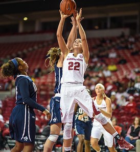 Arkansas Lady Razorbacks guard/forward Bailey Zimmerman (22) shoots during a basketball game between Arkansas and Oral Roberts on December 10, 2015.    (Alan Jamison, Nate Allen Sports Service)
