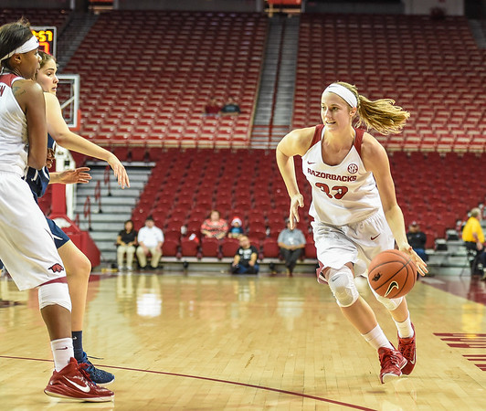 Arkansas Lady Razorbacks forward Melissa Wolff (33) dribbles during a basketball game between Arkansas and Oral Roberts on December 10, 2015.    (Alan Jamison, Nate Allen Sports Service)