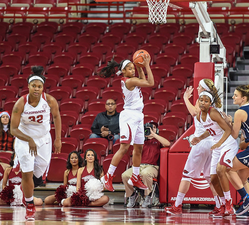 Arkansas Lady Razorbacks guard Jordan Danberry (24) with a rebound during a basketball game between Arkansas and Oral Roberts on December 10, 2015.    (Alan Jamison, Nate Allen Sports Service)