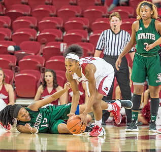 Arkansas Lady Razorbacks guard Jordan Danberry (24) picks up a loose ball during a basketball game between Arkansas and Mississippi Valley State on December 28, 2015.    (Alan Jamison, Nate Allen Sports Service)