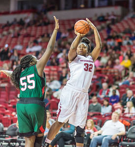 Arkansas Lady Razorbacks forward Khadijah West (32) shoots over Mississippi Valley State Devilettes center Kassaedy Bolden (55) during a basketball game between Arkansas and Mississippi Valley State on December 28, 2015.    (Alan Jamison, Nate Allen Sports Service)