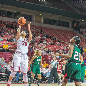 Arkansas Lady Razorbacks center Alecia Cooley (35) shoots a layup during a basketball game between Arkansas and Mississippi Valley State on December 28, 2015.    (Alan Jamison, Nate Allen Sports Service)