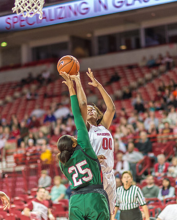 Arkansas Lady Razorbacks forward Jessica Jackson (00) shoots over Mississippi Valley State Devilettes guard Christina Reed (25) during a basketball game between Arkansas and Mississippi Valley State on December 28, 2015.    (Alan Jamison, Nate Allen Sports Service)