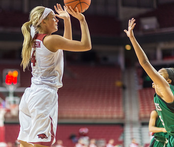 Arkansas Lady Razorbacks guard/forward Keiryn Swenson (4) shoots during a basketball game between Arkansas and Mississippi Valley State on December 28, 2015.    (Alan Jamison, Nate Allen Sports Service)
