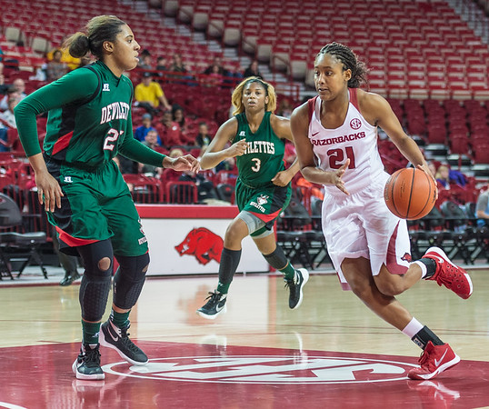 Arkansas Lady Razorbacks guard Devin Cosper (21) drives to the basket during a basketball game between Arkansas and Mississippi Valley State on December 28, 2015.    (Alan Jamison, Nate Allen Sports Service)