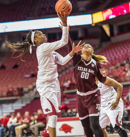 Arkansas Lady Razorbacks forward Jessica Jackson (00) shoots a layup during a basketball game between Arkansas and Texas A&M on January 7, 2016.    (Alan Jamison, Nate Allen Sports Service)