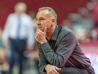 Arkansas Lady Razorbacks head coach Jimmy Dykes during a basketball game between Arkansas and Texas A&M on January 7, 2016.    (Alan Jamison, Nate Allen Sports Service)