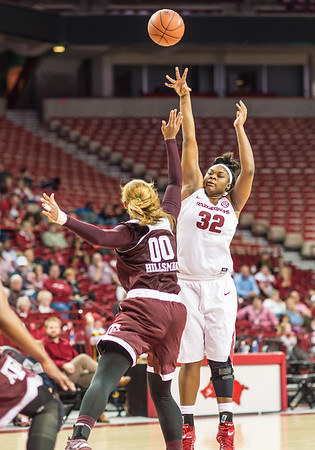 Arkansas Lady Razorbacks forward Khadijah West (32) shoots during a basketball game between Arkansas and Texas A&M on January 7, 2016.    (Alan Jamison, Nate Allen Sports Service)