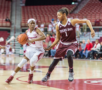 Arkansas Lady Razorbacks guard Malica Monk (3) drives to the basket during a basketball game between Arkansas and Texas A&M on January 7, 2016.    (Alan Jamison, Nate Allen Sports Service)