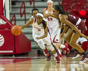 Arkansas Lady Razorbacks guard Malica Monk (3) with a fast break during a basketball game between Arkansas and Texas A&M on January 7, 2016.    (Alan Jamison, Nate Allen Sports Service)