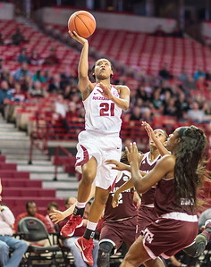 Arkansas Lady Razorbacks guard Devin Cosper (21) shoots inside during a basketball game between Arkansas and Texas A&M on January 7, 2016.    (Alan Jamison, Nate Allen Sports Service)