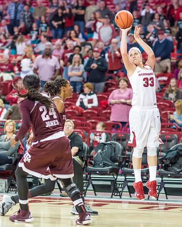 Arkansas Lady Razorbacks forward Melissa Wolff (33) shoots during a basketball game between Arkansas and Texas A&M on January 7, 2016.    (Alan Jamison, Nate Allen Sports Service)