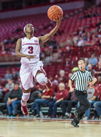 Arkansas Lady Razorbacks guard Malica Monk (3) on a fast break during a basketball game between Arkansas and Texas A&M on January 7, 2016.    (Alan Jamison, Nate Allen Sports Service)