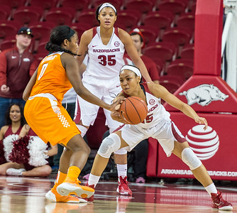 Arkansas Lady Razorbacks guard Kelsey Brooks (15) gets a steal during a basketball game between Arkansas and Tennessee on January 14, 2016.    (Alan Jamison, Nate Allen Sports Service)