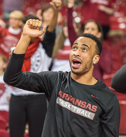 A few members of the men's team including Jabril Durham  showed up to support the ladies during a basketball game between Arkansas and Tennessee on January 14, 2016.    (Alan Jamison, Nate Allen Sports Service)