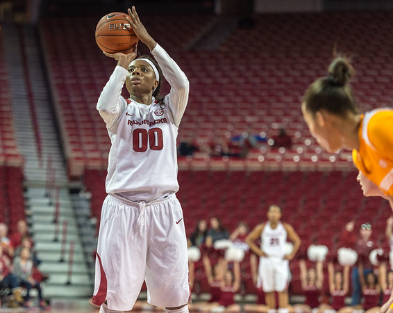 Arkansas Lady Razorbacks forward Jessica Jackson (00) hit 8 of 10 free throws during a basketball game between Arkansas and Tennessee on January 14, 2016.    (Alan Jamison, Nate Allen Sports Service)