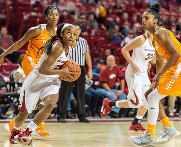 Arkansas Lady Razorbacks guard Jordan Danberry (24) drives to the basket during a basketball game between Arkansas and Tennessee on January 14, 2016.    (Alan Jamison, Nate Allen Sports Service)