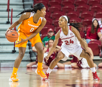 Arkansas Lady Razorbacks guard Jordan Danberry (24) on defense during a basketball game between Arkansas and Tennessee on January 14, 2016.    (Alan Jamison, Nate Allen Sports Service)