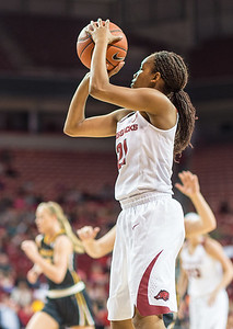 Arkansas Lady Razorbacks guard Devin Cosper (21) shoots during a basketball game between Arkansas Razorbacks and Missouri Tigers  on January 17, 2016.    (Alan Jamison, Nate Allen Sports Service)