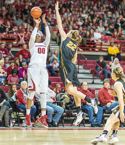 Arkansas Lady Razorbacks forward Jessica Jackson (00) shoots during a basketball game between Arkansas Razorbacks and Missouri Tigers  on January 17, 2016.    (Alan Jamison, Nate Allen Sports Service)