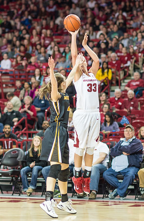 Arkansas Lady Razorbacks forward Melissa Wolff (33) shoots a long two pointer during a basketball game between Arkansas Razorbacks and Missouri Tigers  on January 17, 2016.    (Alan Jamison, Nate Allen Sports Service)