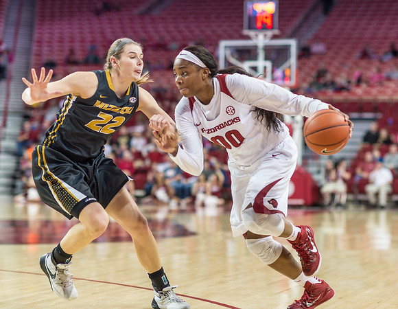 Arkansas Lady Razorbacks forward Jessica Jackson (00) drives during a basketball game between Arkansas Razorbacks and Missouri Tigers  on January 17, 2016.    (Alan Jamison, Nate Allen Sports Service)