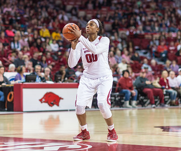 Arkansas Lady Razorbacks forward Jessica Jackson (00) shoots a technical foul during a basketball game between Arkansas Razorbacks and Missouri Tigers  on January 17, 2016.    (Alan Jamison, Nate Allen Sports Service)