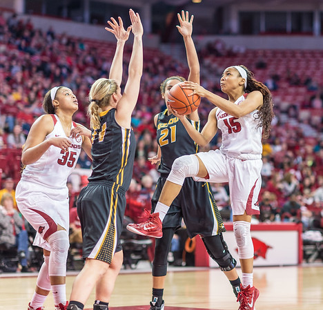 Arkansas Lady Razorbacks guard Kelsey Brooks (15) drives to the basket during a basketball game between Arkansas Razorbacks and Missouri Tigers  on January 17, 2016.    (Alan Jamison, Nate Allen Sports Service)