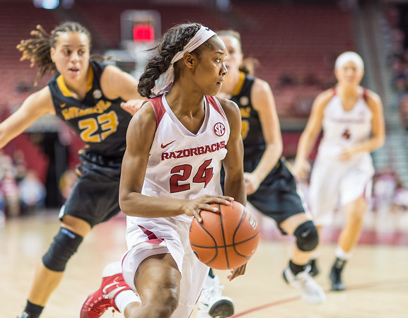 Arkansas Lady Razorbacks guard Jordan Danberry (24) handles the ball during a basketball game between Arkansas Razorbacks and Missouri Tigers  on January 17, 2016.    (Alan Jamison, Nate Allen Sports Service)