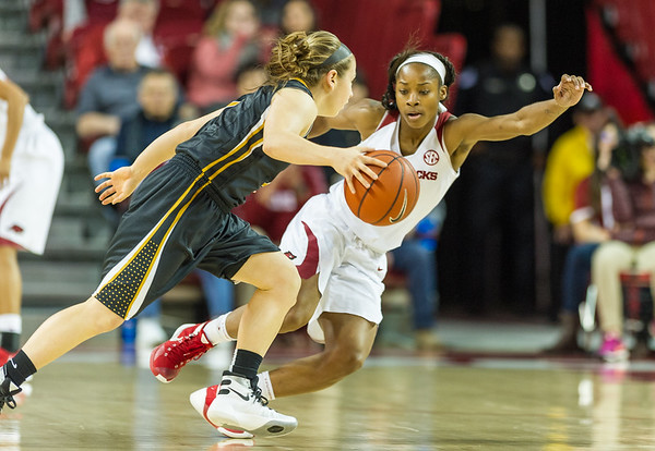 Arkansas Lady Razorbacks guard Jordan Danberry (24) defends during a basketball game between Arkansas Razorbacks and Missouri Tigers  on January 17, 2016.    (Alan Jamison, Nate Allen Sports Service)