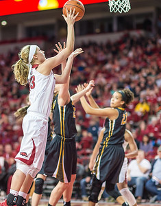 Arkansas Lady Razorbacks forward Melissa Wolff (33) shoots during a basketball game between Arkansas Razorbacks and Missouri Tigers  on January 17, 2016.    (Alan Jamison, Nate Allen Sports Service)